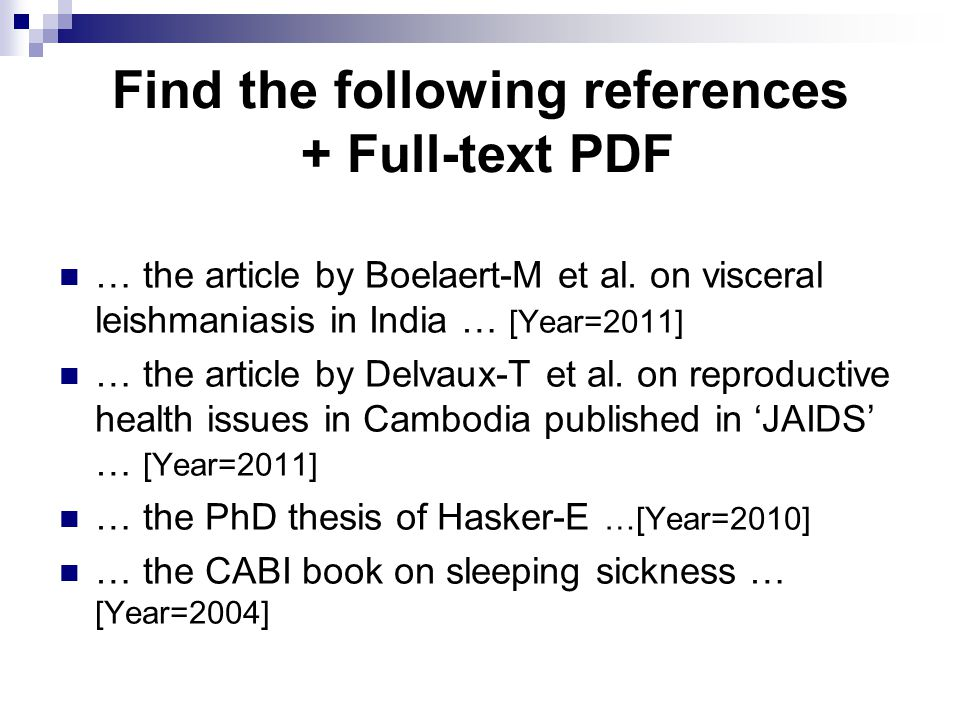 Find the following references + Full-text PDF … the article by Boelaert-M et al.