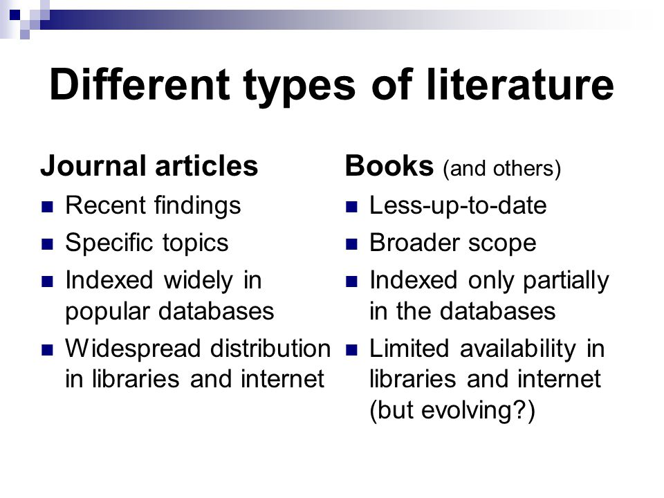 Different types of literature Journal articles Recent findings Specific topics Indexed widely in popular databases Widespread distribution in libraries and internet Books (and others) Less-up-to-date Broader scope Indexed only partially in the databases Limited availability in libraries and internet (but evolving )