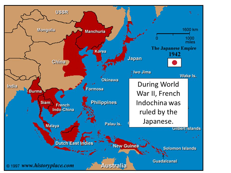 Laos, Cambodia, and Vietnam were called French Indochina. This was a colony of France. During World War II, French Indochina was ruled by the Japanese