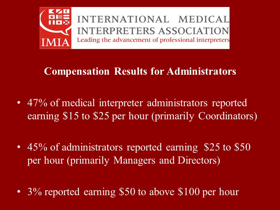 Compensation Results for Administrators 47% of medical interpreter administrators reported earning $15 to $25 per hour (primarily Coordinators) 45% of administrators reported earning $25 to $50 per hour (primarily Managers and Directors) 3% reported earning $50 to above $100 per hour