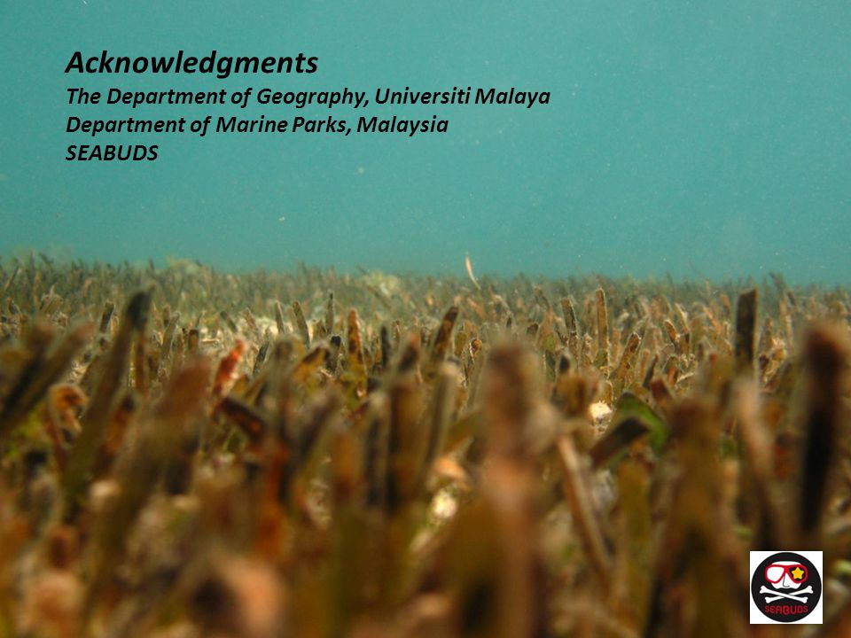 Acknowledgments The Department of Geography, Universiti Malaya Department of Marine Parks, Malaysia SEABUDS