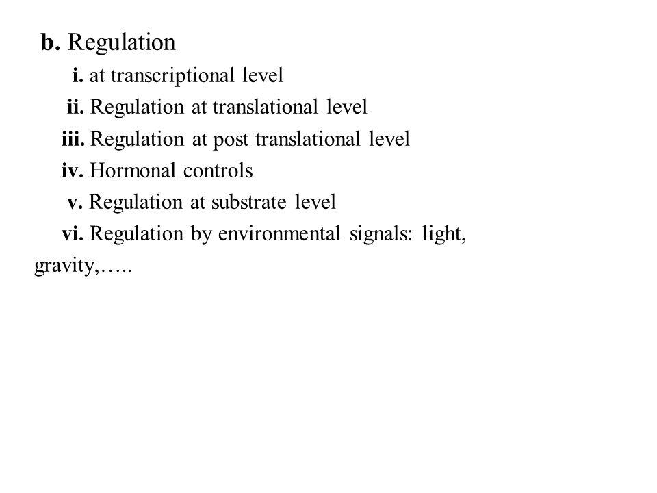 b. Regulation i. at transcriptional level ii. Regulation at translational level iii. Regulation at post translational level iv. Hormonal controls v. R