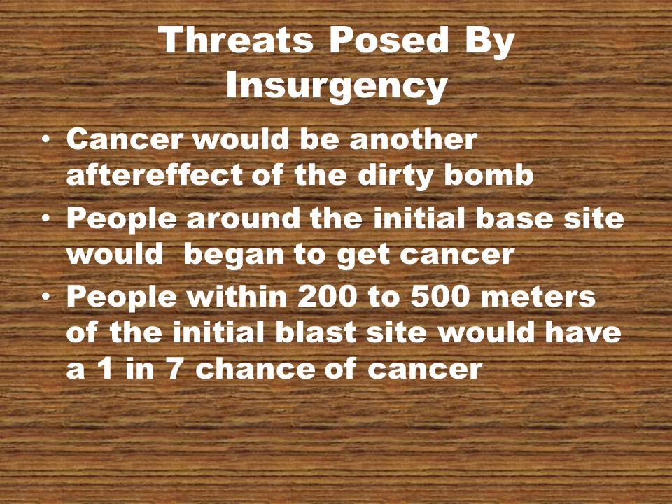 Threats Posed By Insurgency Cancer would be another aftereffect of the dirty bomb People around the initial base site would began to get cancer People within 200 to 500 meters of the initial blast site would have a 1 in 7 chance of cancer
