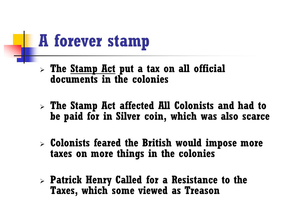 Time to get a new career  Angered by the Stamp act, colonists began to protest and Boycott the taxes  The Sons of Liberty also protested the Stamp Act, both peacefully and violently  Some of the protests would end in the Tar and Feathering of the customs officials who would end up quitting their jobs