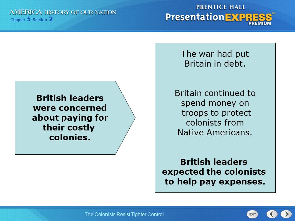 Chapter 5 Section 2 The Colonists Resist Tighter Control The war had put Britain in debt. Britain continued to spend money on troops to protect coloni