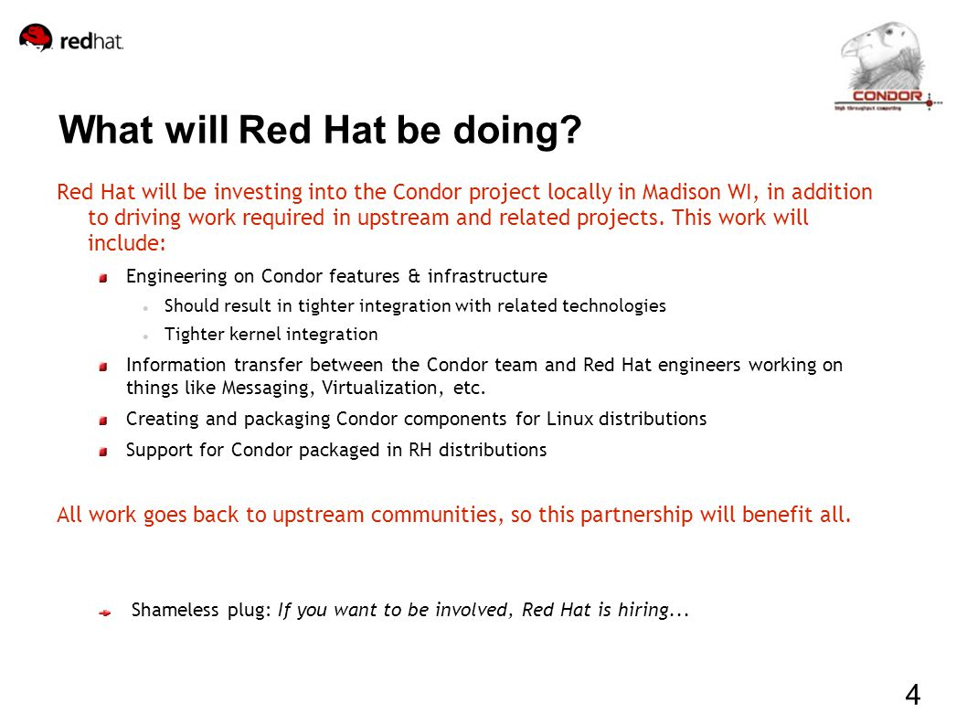 What will Red Hat be doing.