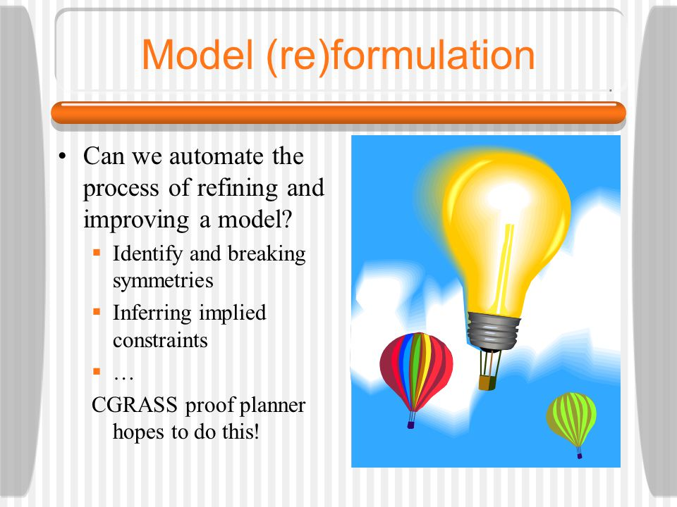 Model (re)formulation Can we automate the process of refining and improving a model.