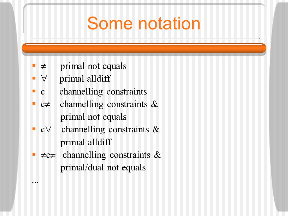 Some notation   primal not equals   primal alldiff  c channelling constraints  c  channelling constraints & primal not equals  c  channelling constraints & primal alldiff   c  channelling constraints & primal/dual not equals...