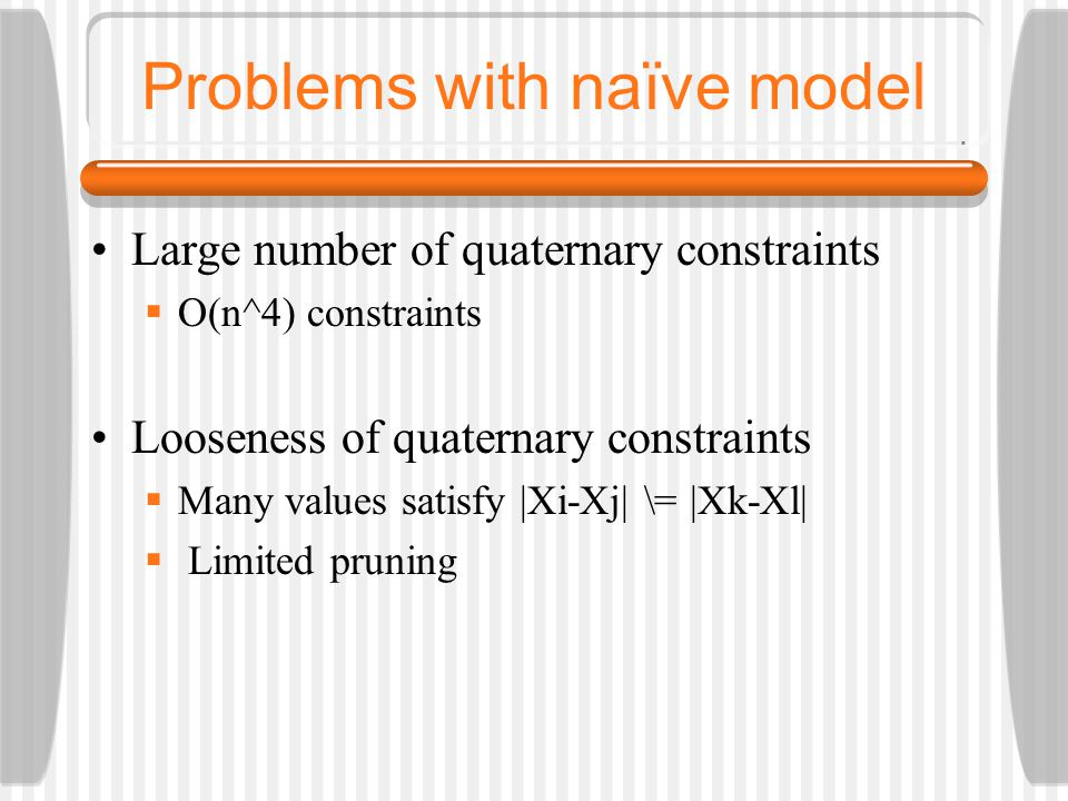 Problems with naïve model Large number of quaternary constraints  O(n^4) constraints Looseness of quaternary constraints  Many values satisfy |Xi-Xj| \= |Xk-Xl|  Limited pruning