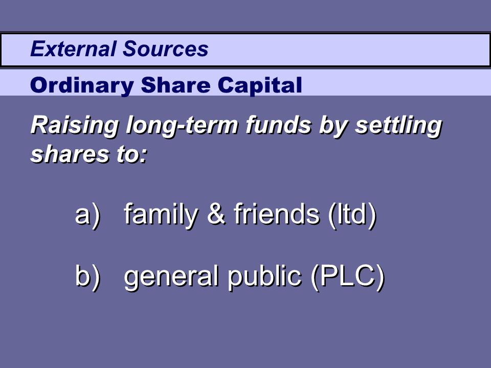 External Sources Ordinary Share Capital a)family & friends (ltd) b)general public (PLC) a)family & friends (ltd) b)general public (PLC) Raising long-t