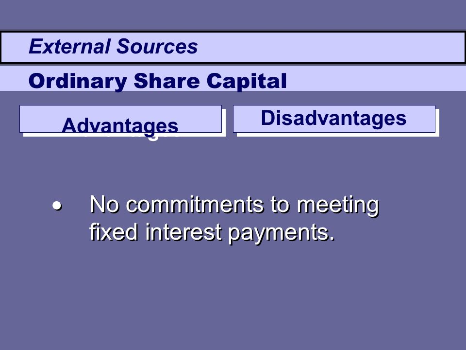 Advantages Disadvantages  No commitments to meeting fixed interest payments. External Sources Ordinary Share Capital