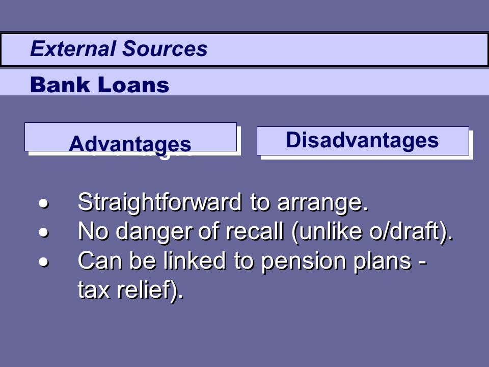 Advantages Disadvantages  Straightforward to arrange.  No danger of recall (unlike o/draft).  Can be linked to pension plans - tax relief).  Strai
