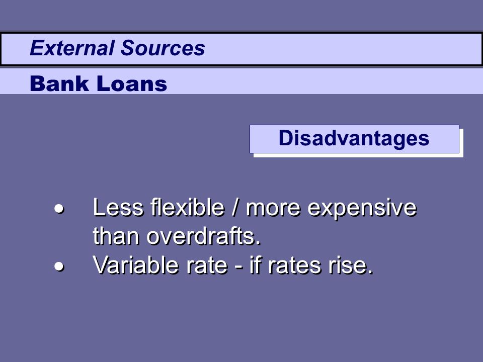  Less flexible / more expensive than overdrafts.  Variable rate - if rates rise.  Less flexible / more expensive than overdrafts.  Variable rate -