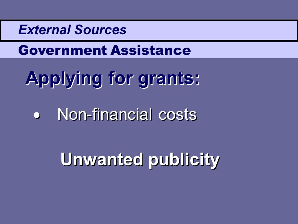 External Sources Government Assistance  Non-financial costs Unwanted publicity Applying for grants: