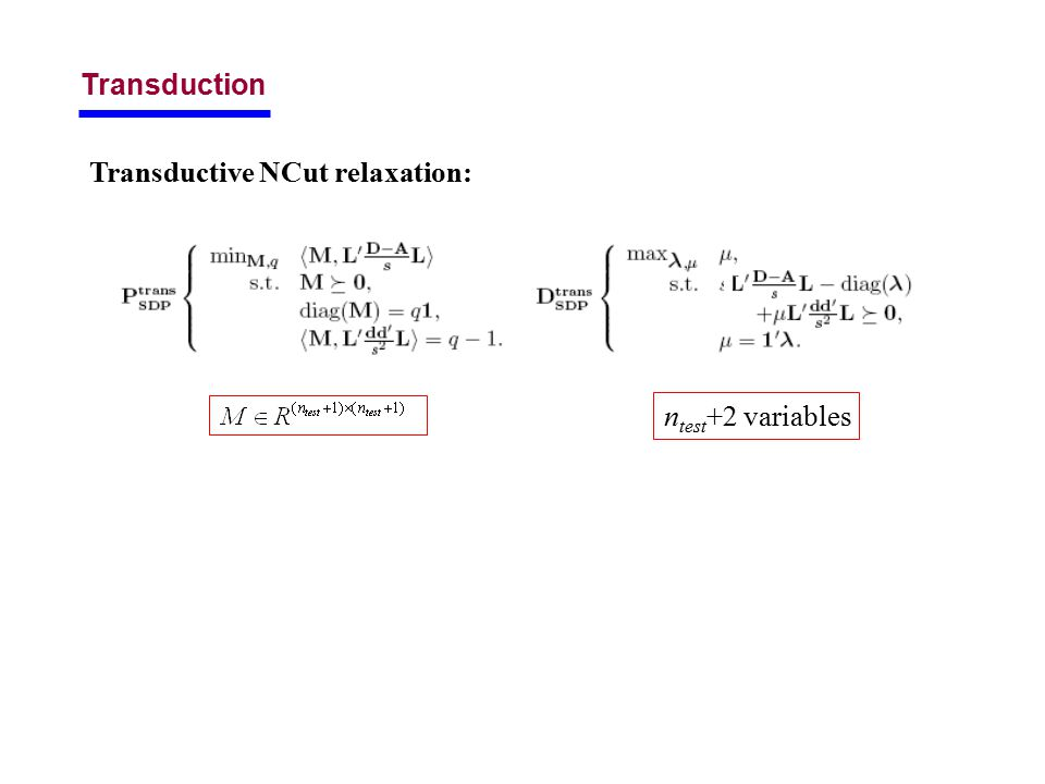 Transduction Transductive NCut relaxation: n test +2 variables