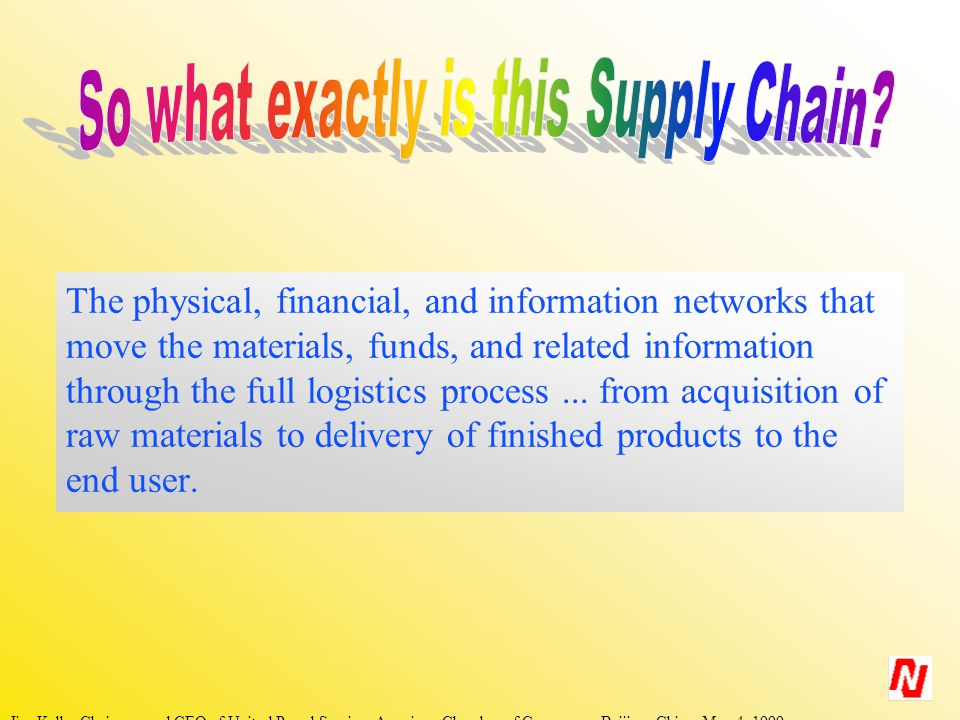 The physical, financial, and information networks that move the materials, funds, and related information through the full logistics process...