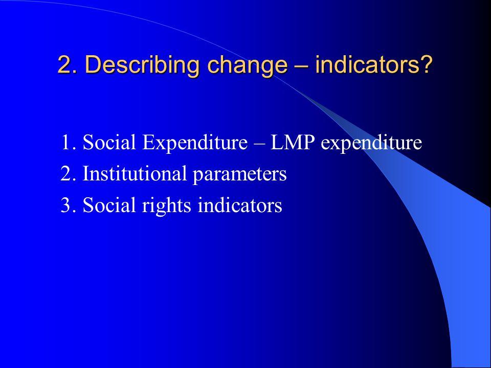 2. Describing change – indicators. 1. Social Expenditure – LMP expenditure 2.