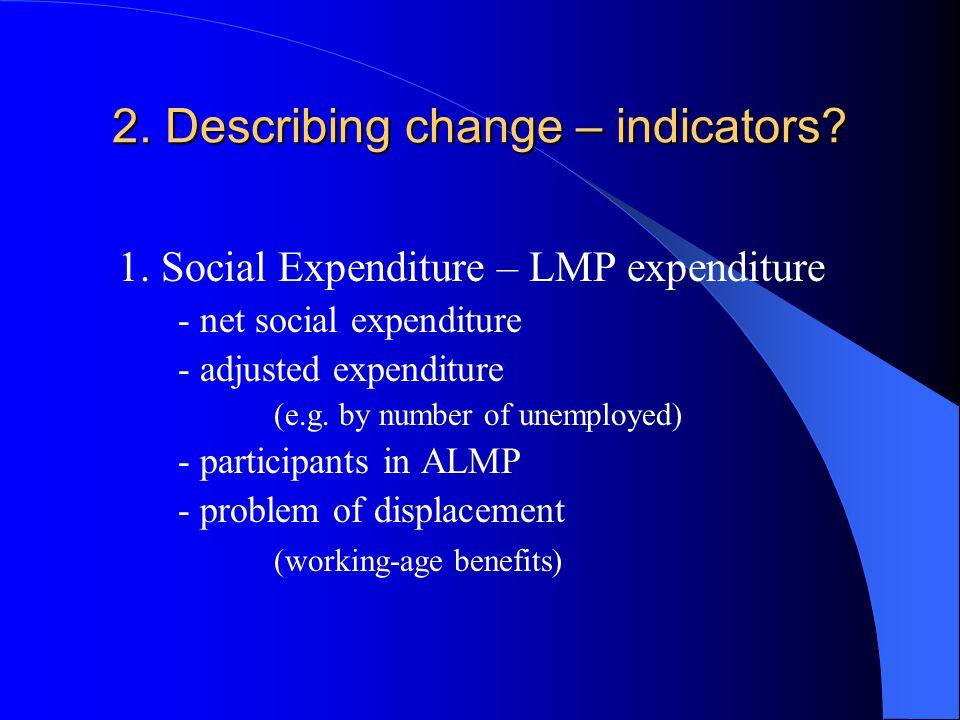 2. Describing change – indicators. 1.