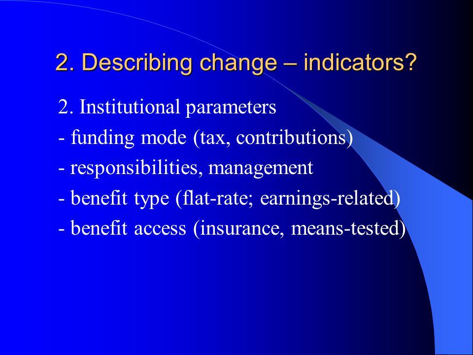 2. Describing change – indicators. 2.