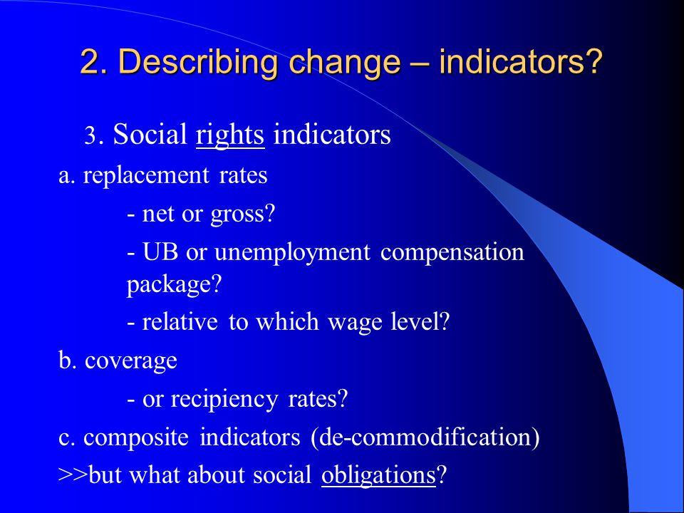 2. Describing change – indicators. 3. Social rights indicators a.