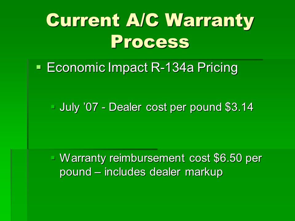 Current A/C Warranty Process  Economic Impact R-134a Pricing  July '07 - Dealer cost per pound $3.14  Warranty reimbursement cost $6.50 per pound – includes dealer markup