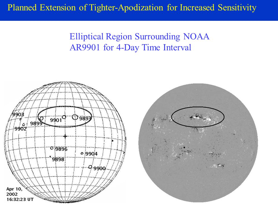 Planned Extension of Tighter-Apodization for Increased Sensitivity Elliptical Region Surrounding NOAA AR9901 for 4-Day Time Interval