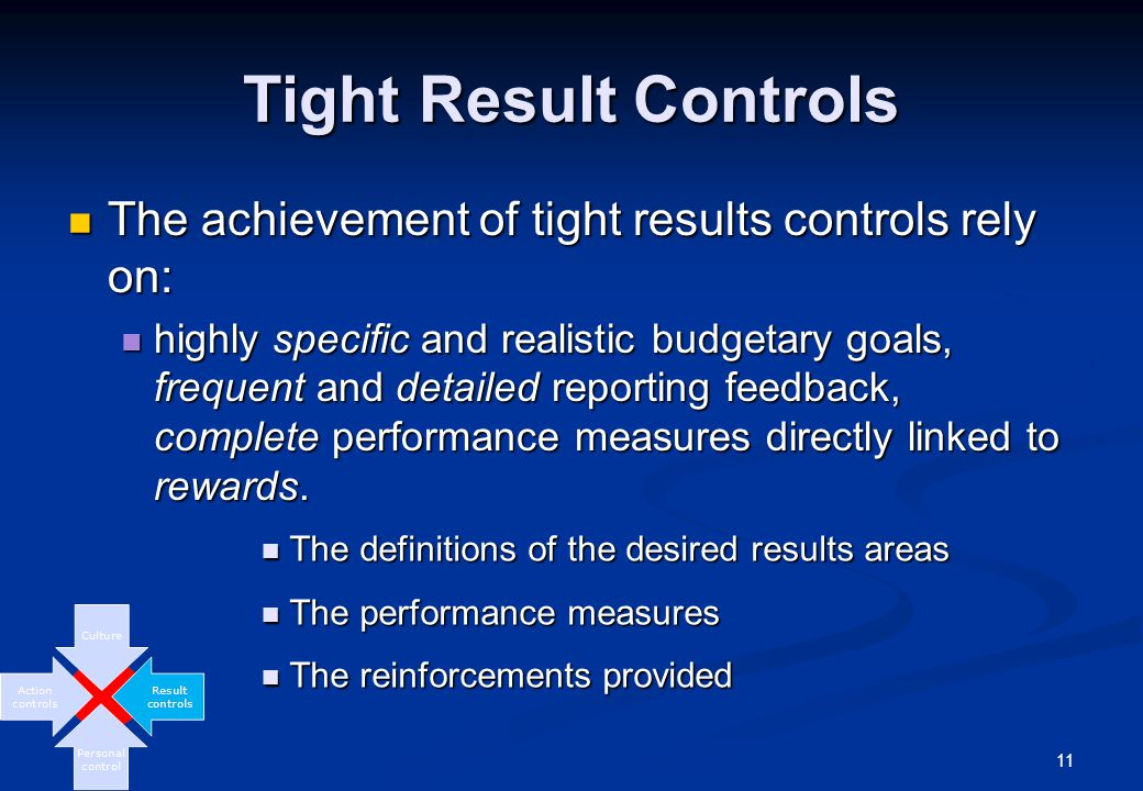 11 Tight Result Controls The achievement of tight results controls rely on: The achievement of tight results controls rely on: highly specific and realistic budgetary goals, frequent and detailed reporting feedback, complete performance measures directly linked to rewards.
