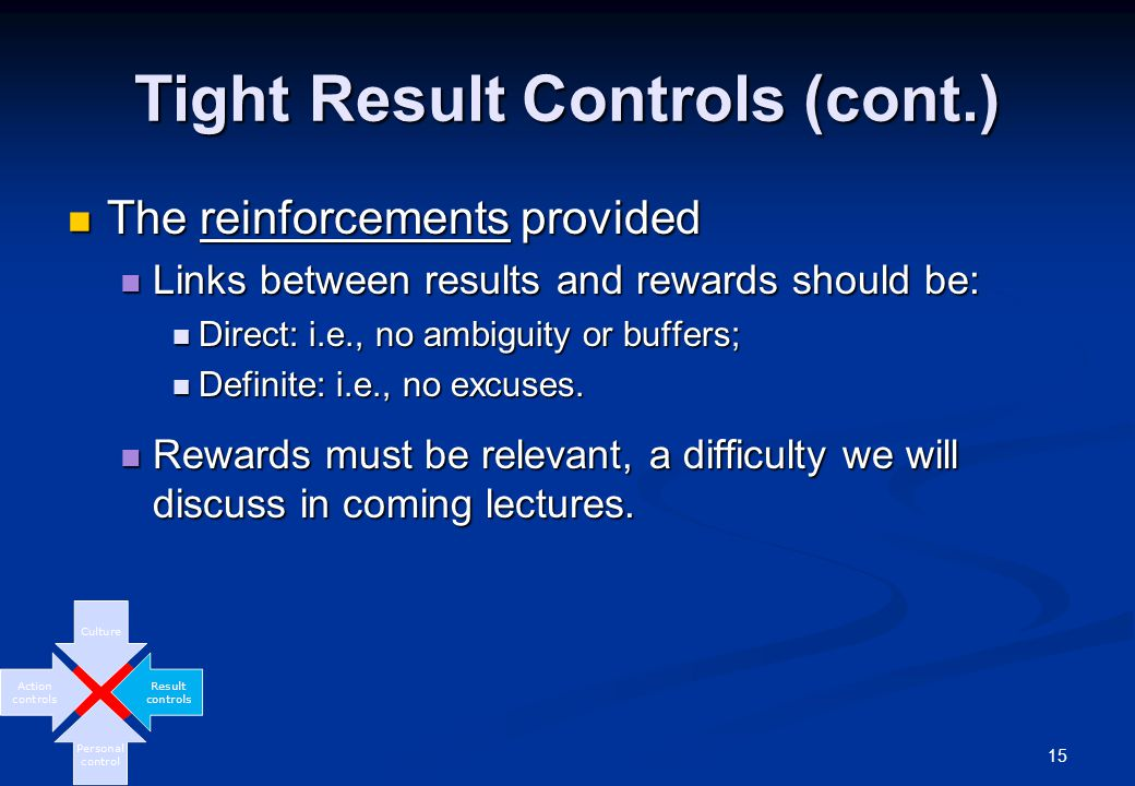 15 Tight Result Controls (cont.) The reinforcements provided The reinforcements provided Links between results and rewards should be: Links between results and rewards should be: Direct: i.e., no ambiguity or buffers; Direct: i.e., no ambiguity or buffers; Definite: i.e., no excuses.