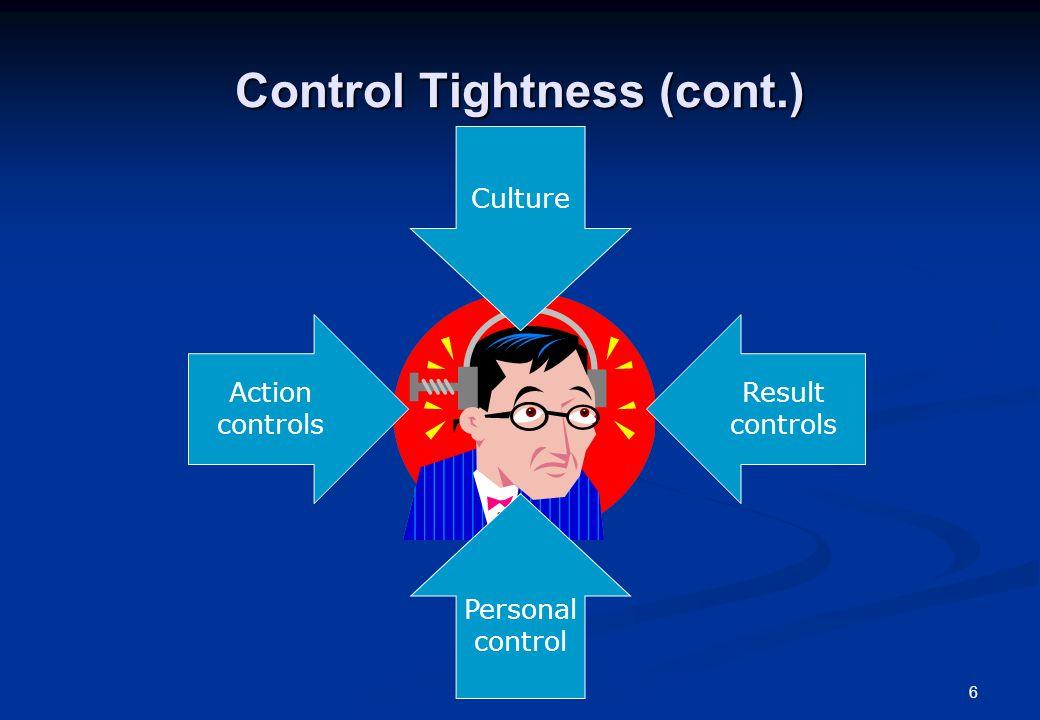 6 Control Tightness (cont.) Action controls Result controls Personal control Culture