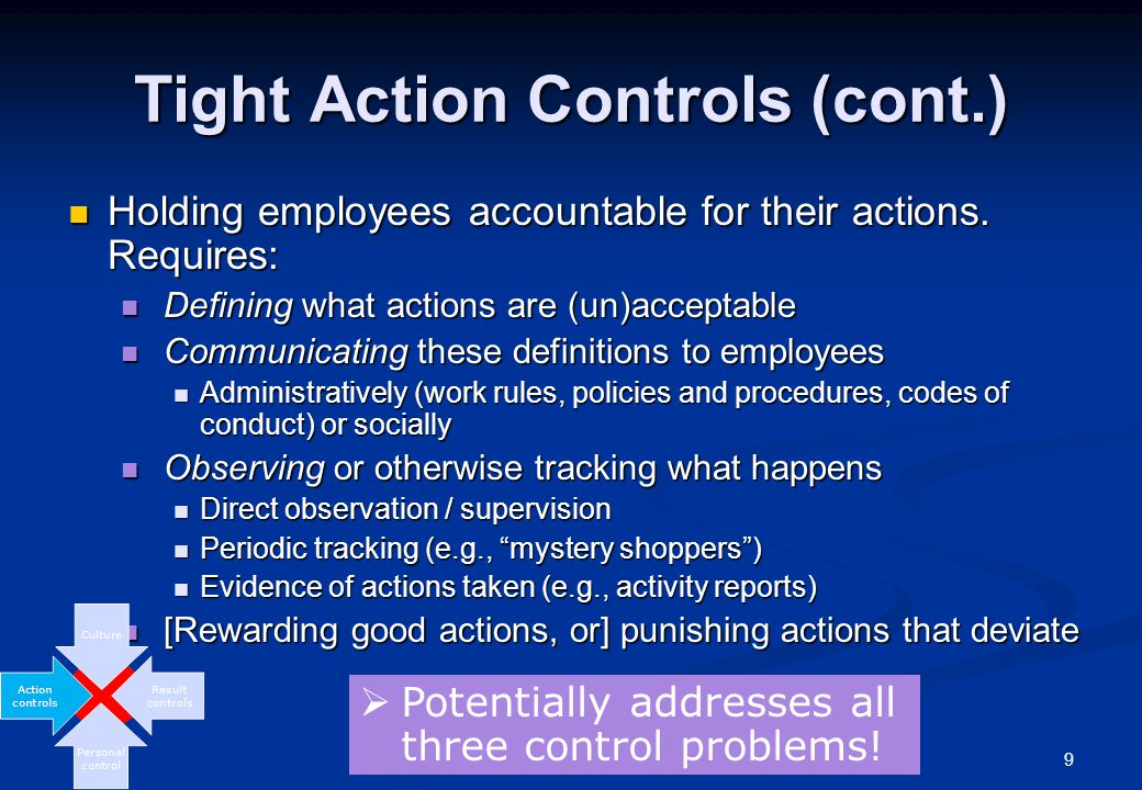 10 Loose Action Controls Are action controls particularly effective if they are too loose.