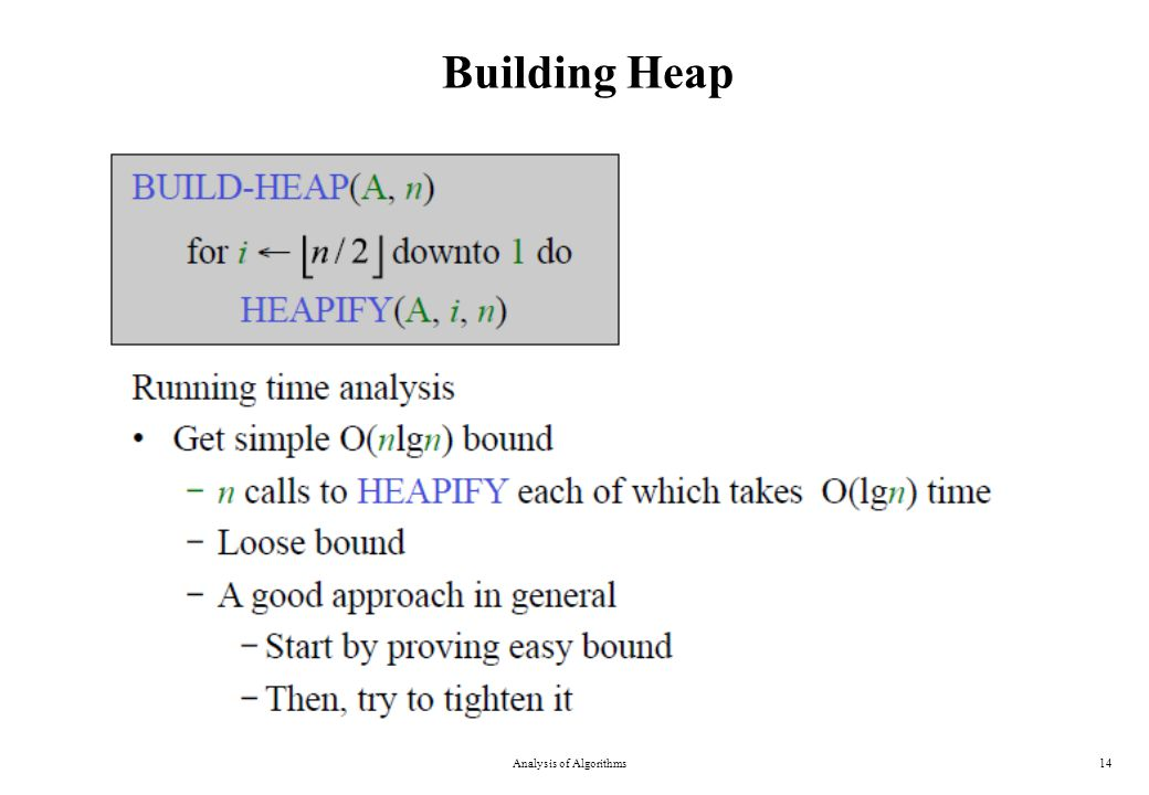 Building Heap Analysis of Algorithms14