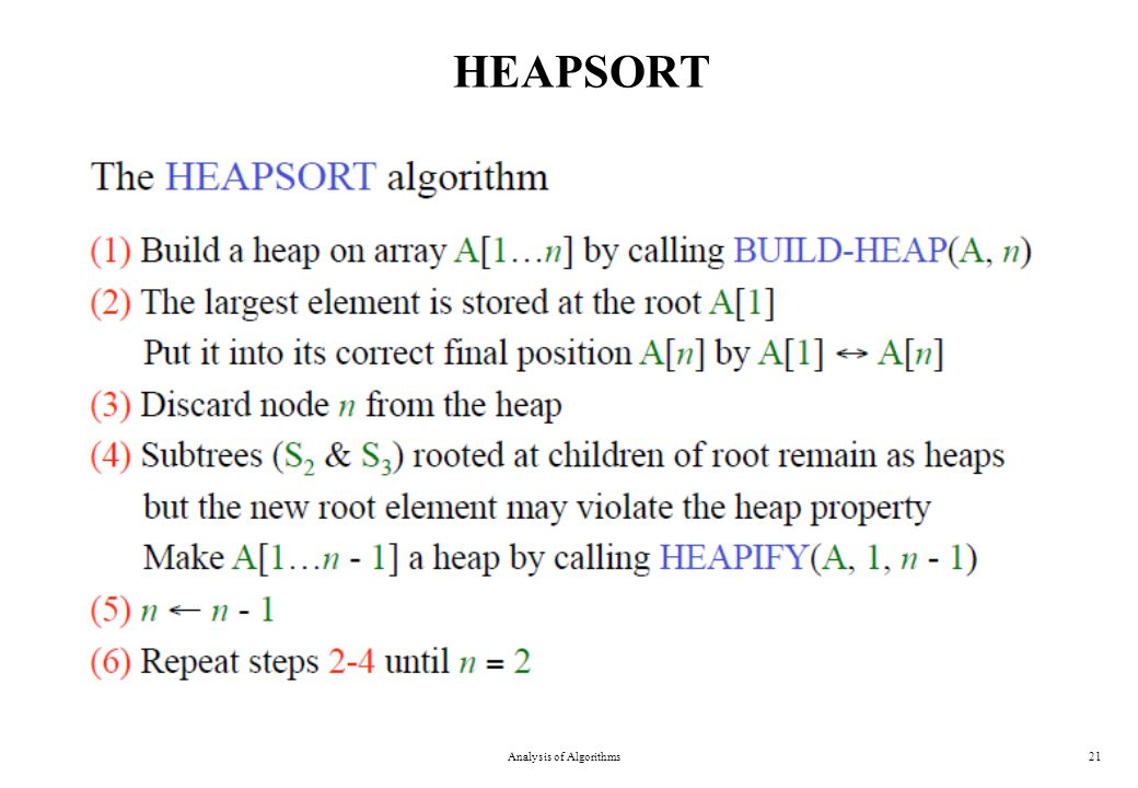 HEAPSORT Analysis of Algorithms21