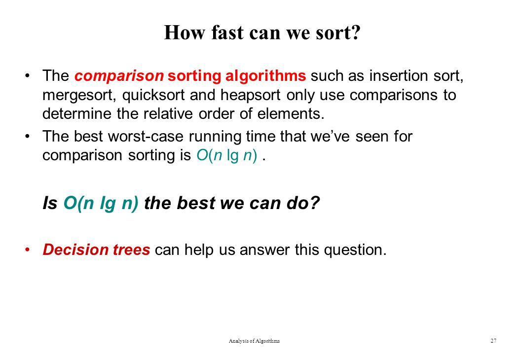 How fast can we sort.