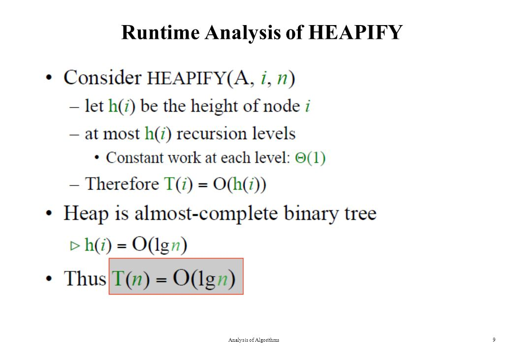 Runtime Analysis of HEAPIFY Analysis of Algorithms9