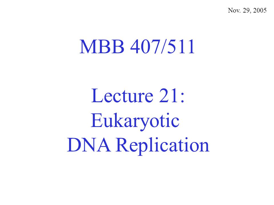 MBB 407/511 Lecture 21: Eukaryotic DNA Replication Nov. 29, 2005