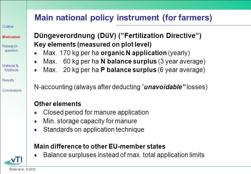Röder et al., 5-2012 Düngeverordnung (DüV) ( Fertilization Directive ) Key elements (measured on plot level)  Max.170 kg per ha organic N application (yearly)  Max.60 kg per ha N balance surplus (3 year average)  Max.