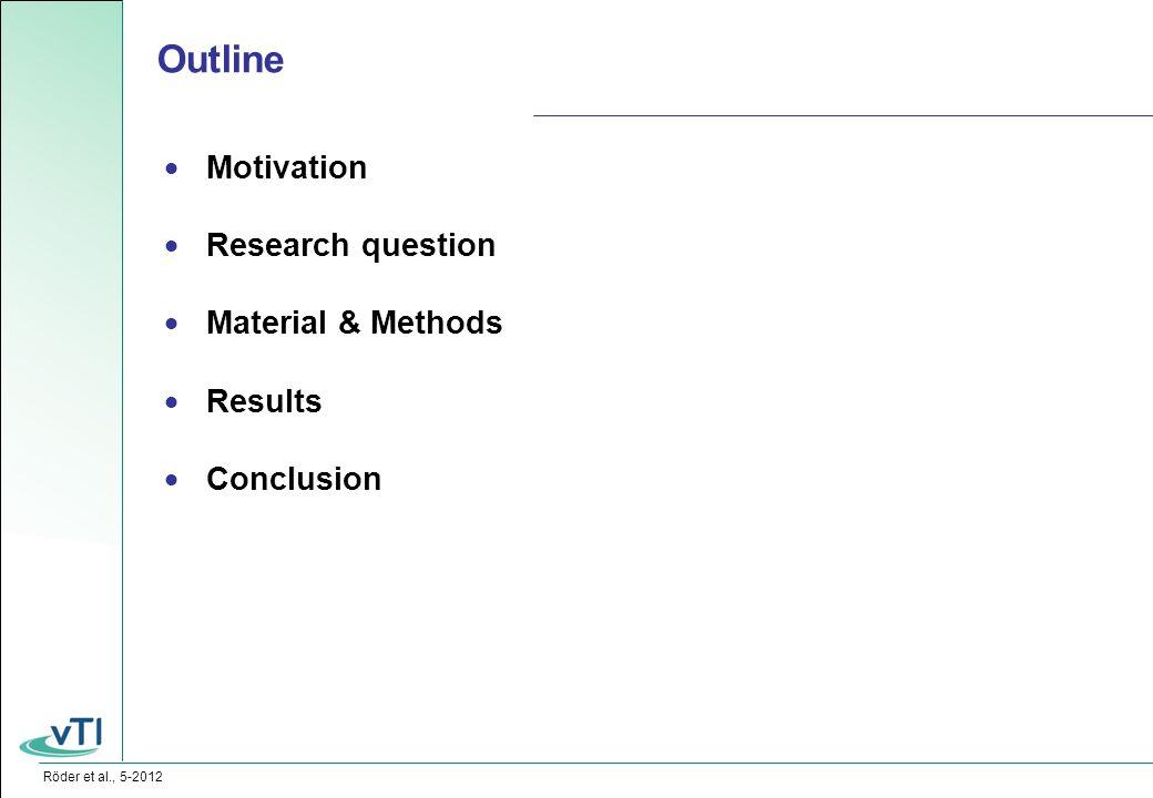Röder et al., 5-2012  Motivation  Research question  Material & Methods  Results  Conclusion Outline