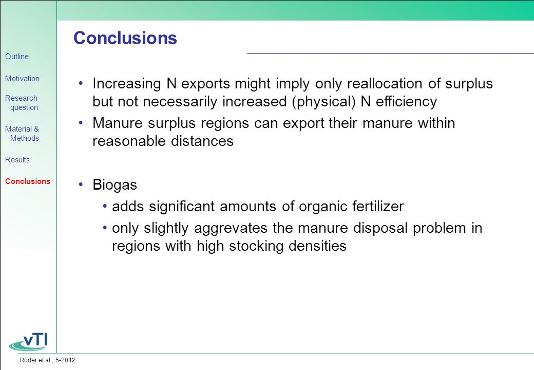 Röder et al., 5-2012 Conclusions Increasing N exports might imply only reallocation of surplus but not necessarily increased (physical) N efficiency Manure surplus regions can export their manure within reasonable distances Biogas adds significant amounts of organic fertilizer only slightly aggrevates the manure disposal problem in regions with high stocking densities Outline Motivation Research question Material & Methods Results Conclusions