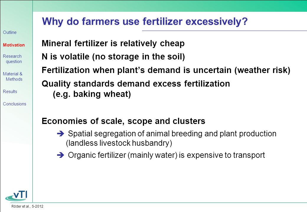Röder et al., 5-2012 Mineral fertilizer is relatively cheap N is volatile (no storage in the soil) Fertilization when plant's demand is uncertain (weather risk) Quality standards demand excess fertilization (e.g.