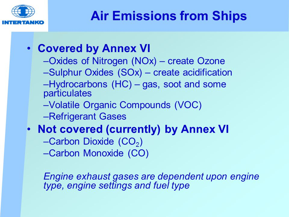 Air Emissions from Ships Covered by Annex VI –Oxides of Nitrogen (NOx) – create Ozone –Sulphur Oxides (SOx) – create acidification –Hydrocarbons (HC) – gas, soot and some particulates –Volatile Organic Compounds (VOC) –Refrigerant Gases Not covered (currently) by Annex VI –Carbon Dioxide (CO 2 ) –Carbon Monoxide (CO) Engine exhaust gases are dependent upon engine type, engine settings and fuel type
