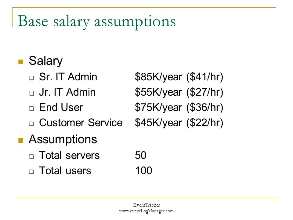 EventTracker www.eventLogManager.com Base salary assumptions Salary  Sr.