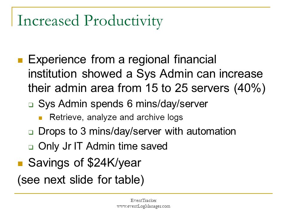 EventTracker www.eventLogManager.com Increased Productivity Experience from a regional financial institution showed a Sys Admin can increase their admin area from 15 to 25 servers (40%)  Sys Admin spends 6 mins/day/server Retrieve, analyze and archive logs  Drops to 3 mins/day/server with automation  Only Jr IT Admin time saved Savings of $24K/year (see next slide for table)