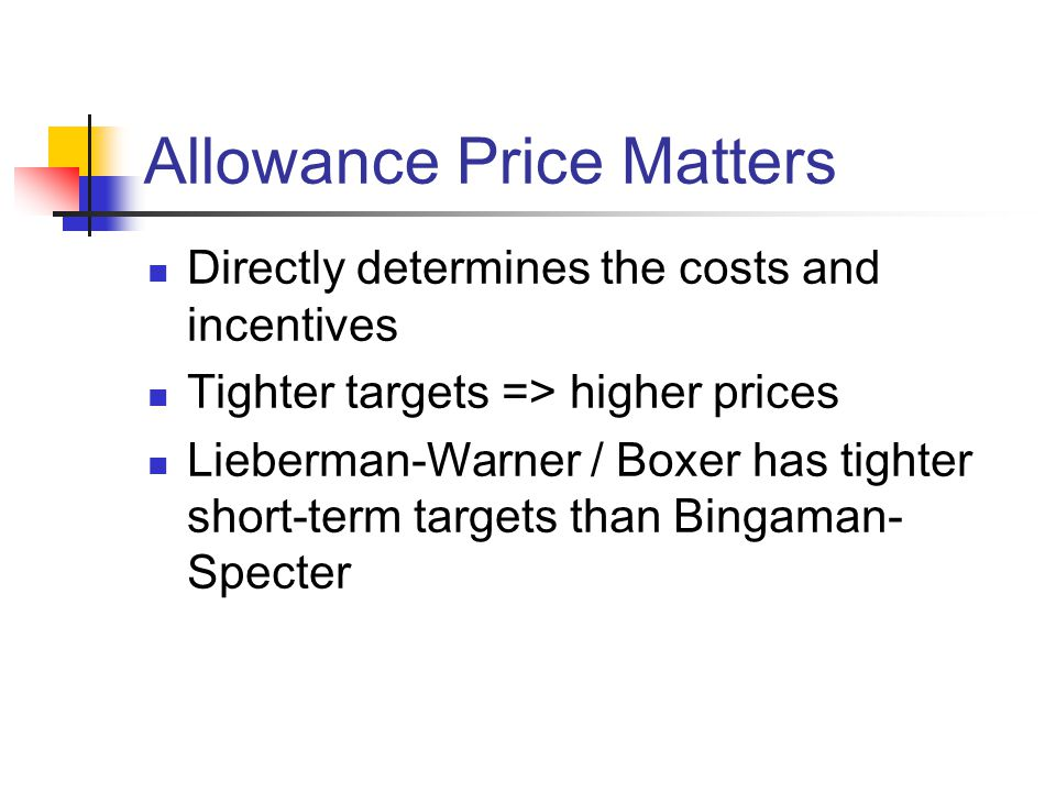 Allowance Price Matters Directly determines the costs and incentives Tighter targets => higher prices Lieberman-Warner / Boxer has tighter short-term targets than Bingaman- Specter