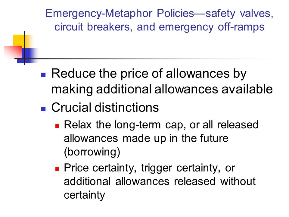 Emergency-Metaphor Policies Safety Valve – unlimited allowances available at a known price Circuit Breaker – annual cap is frozen (stops declining) as long as prices are above a known price Emergency Off-Ramp – a reserve of future-year allowances is auctioned annually with a (known) minimum price