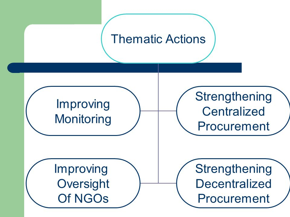 Thematic Actions Improving Monitoring Strengthening Centralized Procurement Improving Oversight Of NGOs Strengthening Decentralized Procurement