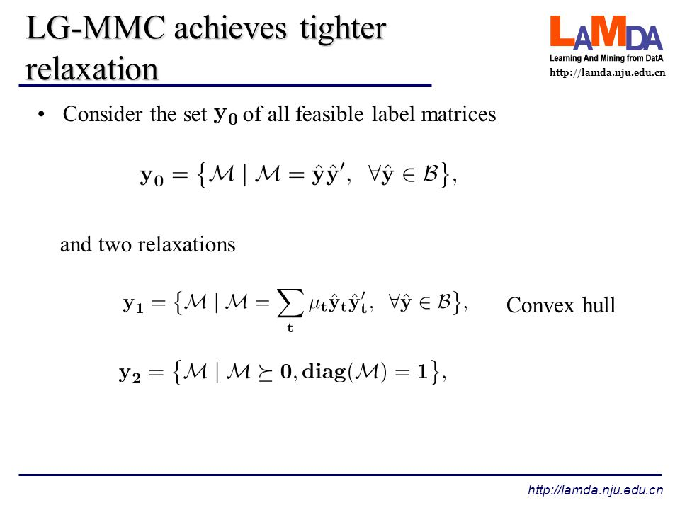 http://lamda.nju.edu.cn LG-MMC achieves tighter relaxation Consider the set of all feasible label matrices and two relaxations Convex hull