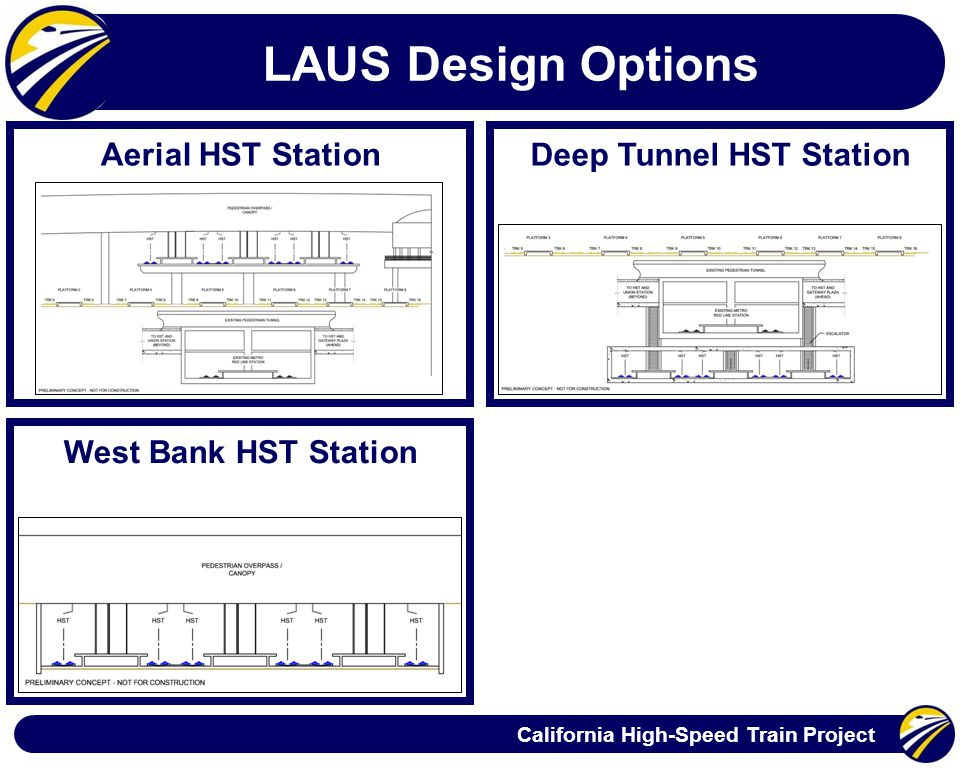 California High-Speed Train Project LAUS Design Options Aerial HST Station West Bank HST Station Deep Tunnel HST Station