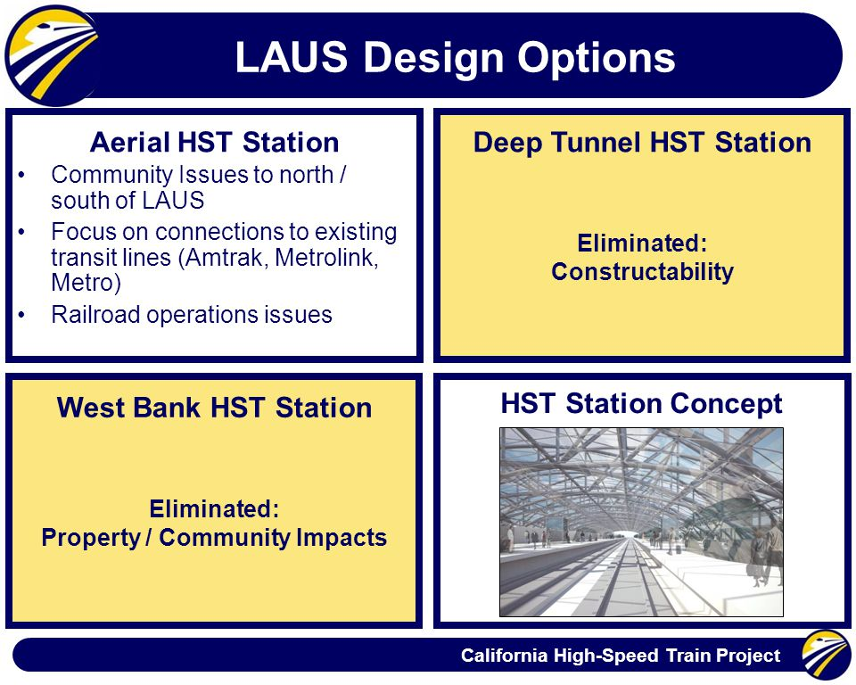California High-Speed Train Project LAUS Design Options West Bank HST Station Aerial HST Station Community Issues to north / south of LAUS Focus on connections to existing transit lines (Amtrak, Metrolink, Metro) Railroad operations issues Eliminated: Property / Community Impacts Deep Tunnel HST Station Eliminated: Constructability HST Station Concept