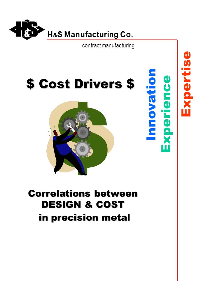 H & S Manufacturing Co. contract manufacturing Innovation Experience Expertise $ Cost Drivers $ Correlations between DESIGN & COST in precision metal