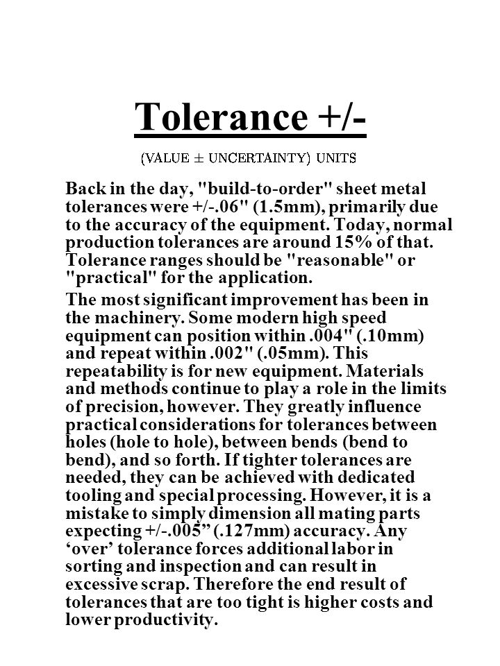 Tolerance +/- Back in the day,